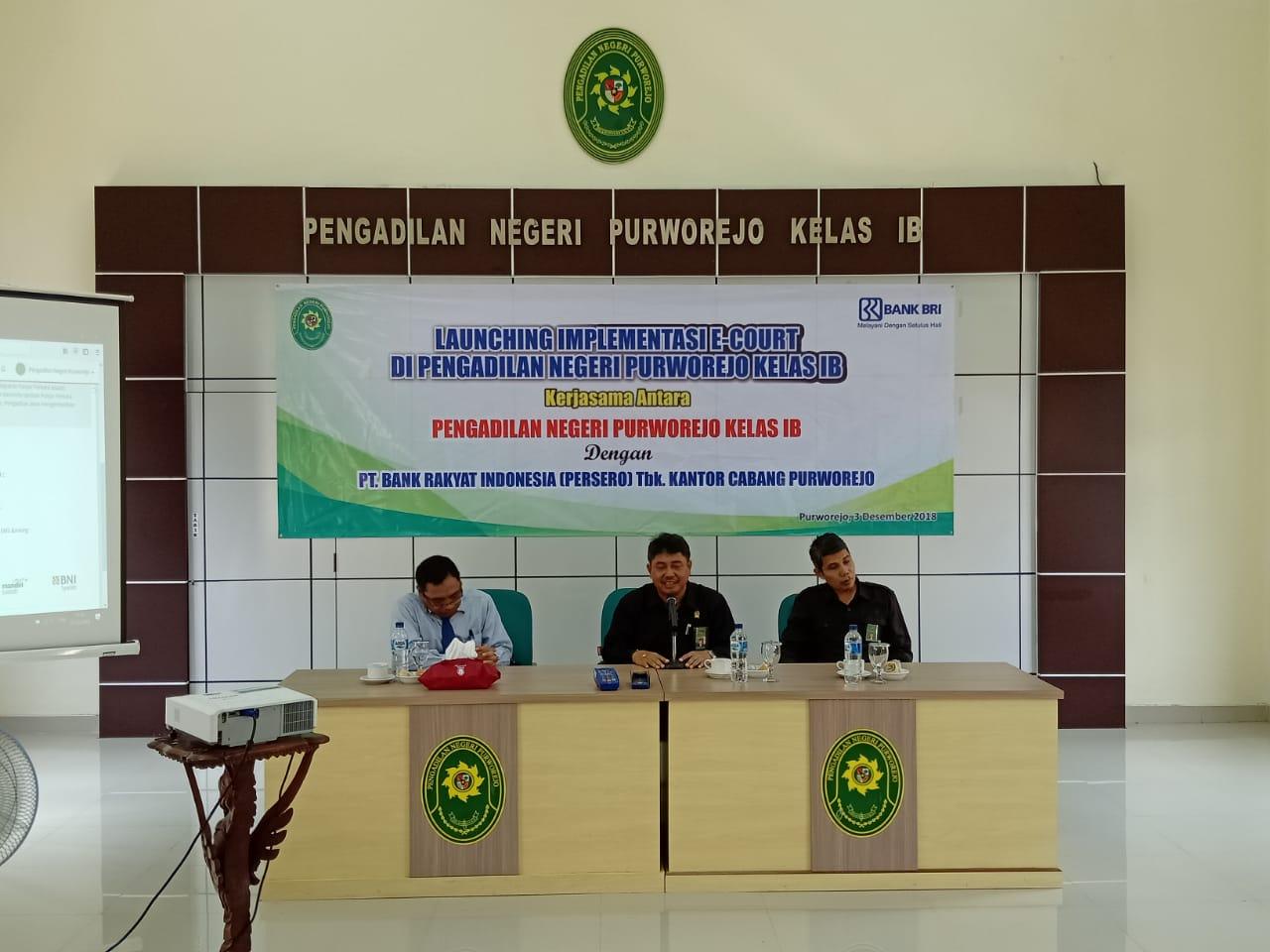 Pengadilan Negeri Purworejo Laounching Implementasi E-Court  kerjasama dengan PT. Bank Rakyat Indonesia (Persero) Purworejo