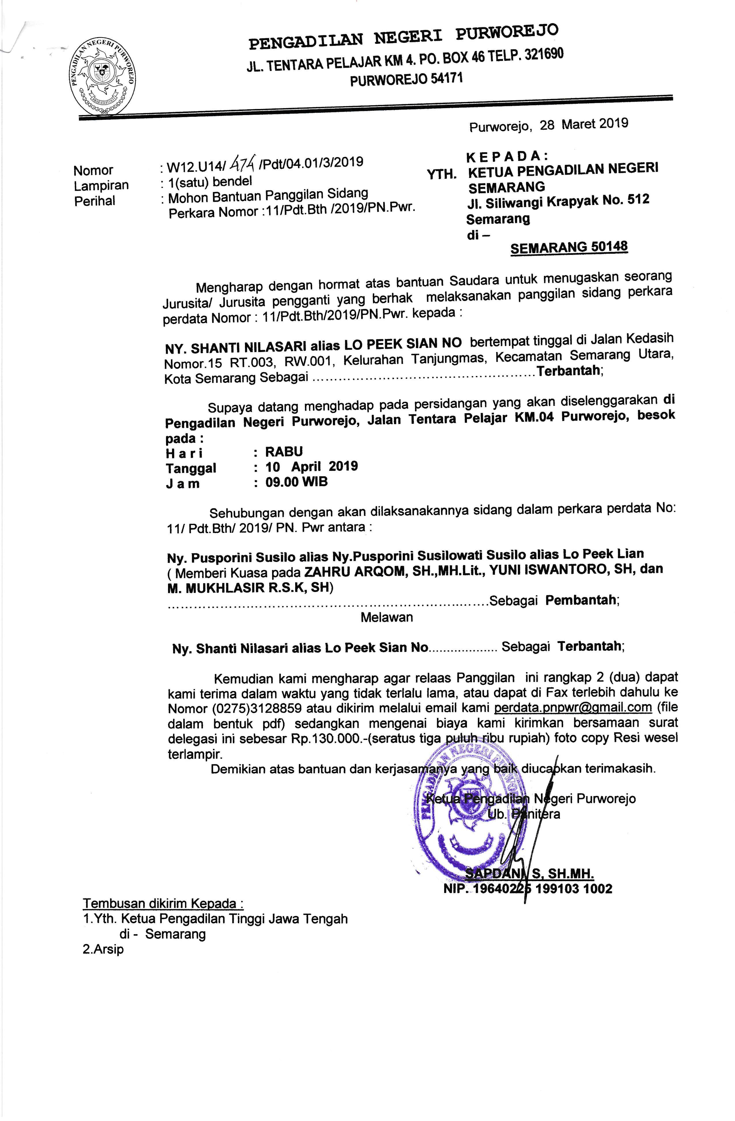 Relaas Panggilan Kepada Ny. Shanti Nilasari alias Lo Peek Sian No
