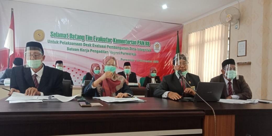 Desk Evaluasi Zona Integritas Menuju WBK/WBBM Tahun 2020 PN Purworejo Oleh Tim Kemenpan RB