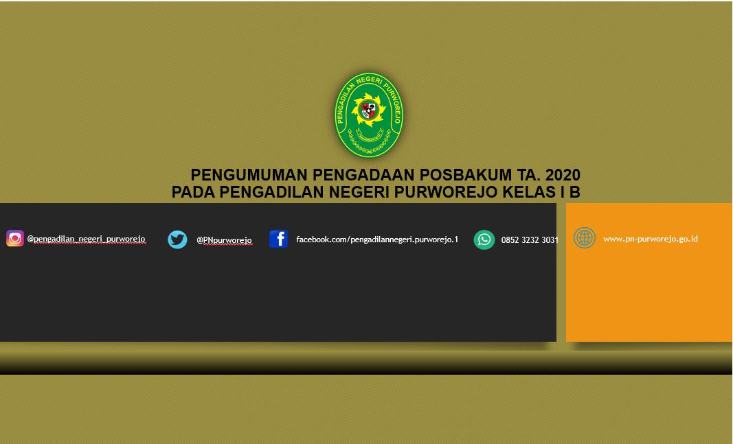 Pengumuman Pengadaan Posbakum TA.2020